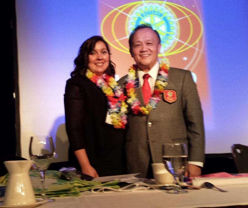 PBRC President Elect Ramona C posing with incoming Rotary International President Gary C.K. Huang.